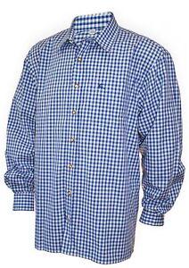 Trachtenhemd Karo-Hemd Trachten-Pfoadl Karohemd blau kariert Herrenhemd langarm