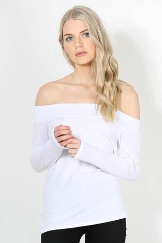 Ladies Womens Bardot Plain Long Sleeve Off the Shoulder Soft Jersey T Shirt Top
