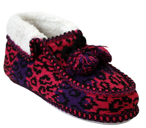WOMENS COOLERS WARM FUR LINED KNITTED BOOTIES INDOOR LADIES COSY SLIPPERS SHOES