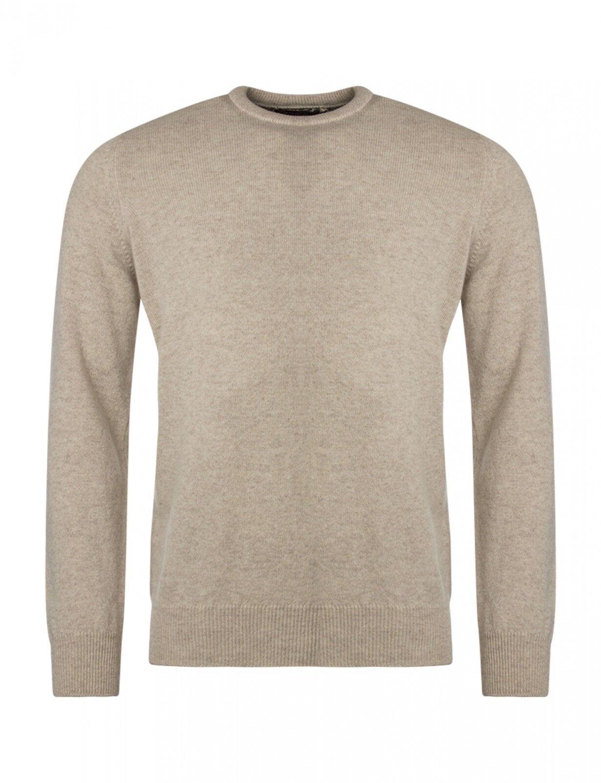 Da Uomo Grande & British MAGLIERIA TINTA UNITA LANA D'AGNELLO Crew maglione a girocollo con Harris Tweed
