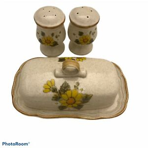 Vintage-Mikasa-sunny-side-covered-butter-dish-amp-Matching-Salt-and-Pepper-Shakers