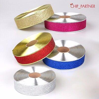 Christmas Ribbon Glitter Ribbon Xmas Party Decorations Holiday Gift Wrapping Lot