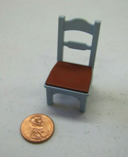 Vintage PLAYMOBIL BLUE BROWN CHAIR Straight Back Kitchen Chair Dining Room