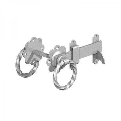 Screws D19 BZP TWISTED RING Gate Latch Bright Zinc Plated Garden Catch Lock