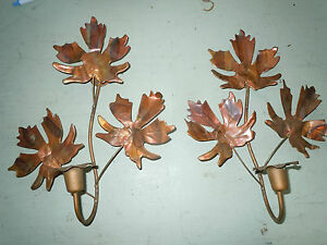 Handmade Copper Wall Sconces : VINTAGE COPPER WALL SCONCES LEAVES HAND MADE CANDLE HOLDERS UNIQUE QUALITY OLD eBay
