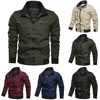 Fashion Mens Biker Jacket Bomber Zip Up Coat Winter Autumn Long Sleeve Outwear | eBay