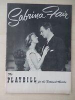 March 15th, 1954 - National Theatre Playbill - Sabrina Fair - Margaret Sullavan