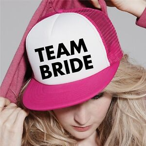 2d7bd9bc487 Image is loading Team-Bride-Groom-Personalised-Text-Half-Mesh-Baseball-