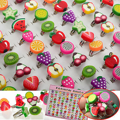 5-20pcs Wholesale Lots Bulk Mixed Polymer Clay Children Kids Boys Finger Rings