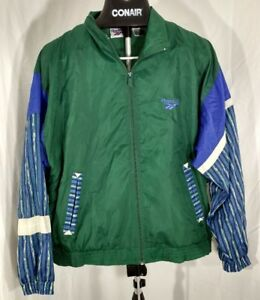 61983068163fa Details about vintage 90s Reebok hip hop zip up windbreaker jacket green  Large