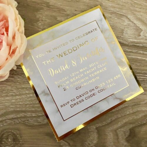 Engagement Christening Wedding Invitation Gold Foil Marble SAMPLE Birthday