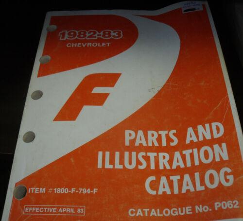 1982 83 Chev Camaro GM Factory Dealer/'s Original Parts//Illustrations Book PO62.