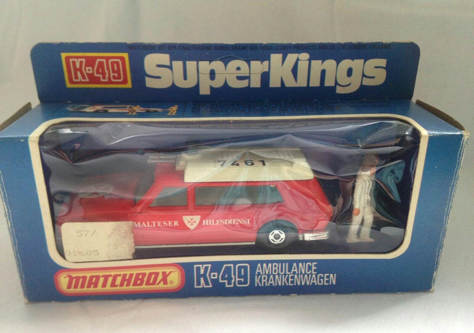 Matchbox Super Kings K-49 Ambulance Sonderotition Malteser Hilfsdienst in OV