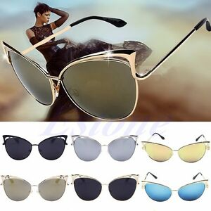 a047acc6465 Women s Gold Retro Cat Eye Sunglasses Classic Designer Vintage ...