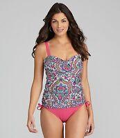 Alex Marie Paisley Twist-front One-piece Swimsuit Size 8