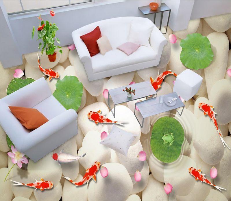 3D Lac Galet Fond d'écran étage Peint en Autocollant Murale Plafond Plafond Murale Chambre Art 9610f4