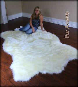 Shaggy Shag Plush Polar Bear Area Throw Rug Faux Fur Bear