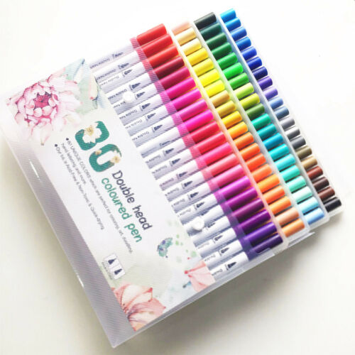 100 Color Watercolor Brush Pens Set Dual Tips Soft Fine Art Markers Drawing Pen