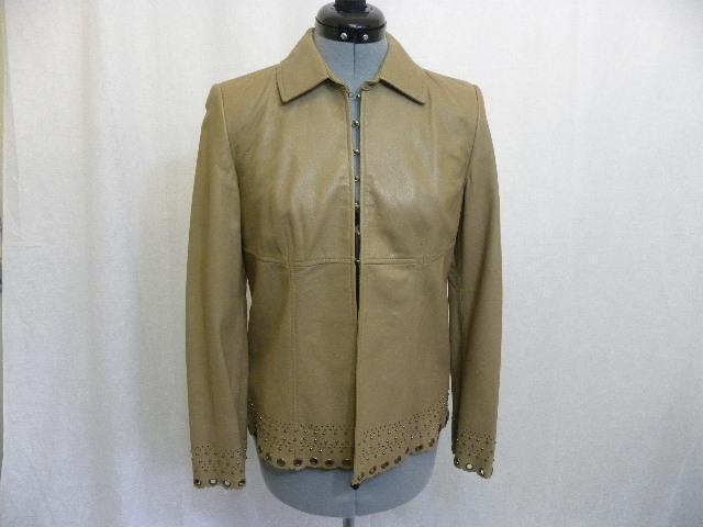 DAVID MEISTER GORGEOUS Tan Leather Cutout Blazer 4