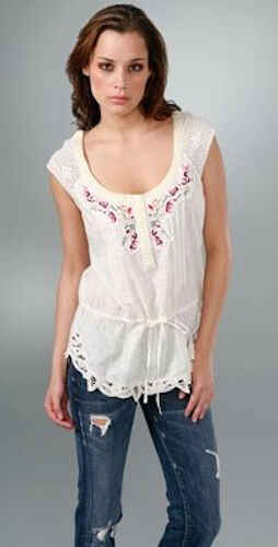 NWT FREE PEOPLE MUY LING FLORAL EMBROIDErot BOHO TOP 12   SFS