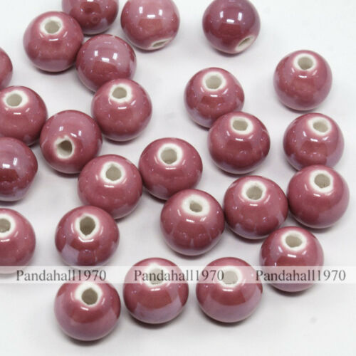 100 x palevioletred 10 mm nacré ronde fait main porcelaine Beads Jewelry Making