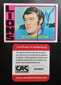 1972 Topps Steve Owens CAS Cert Signed Autograph Lions Rookie Card RARE Heisman