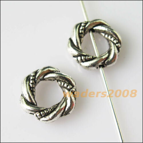 20 New Round Circle Frame Charms Tibetan Silver Tone Spacer Beads 11.5mm