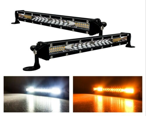 2x White Amber Dual Color Ultra Slim High Output Osram LED Light Bar Offroad 12v