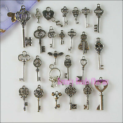 50Pcs Mixed Lots of Tibetan Silver Tone Key Charms Pendants