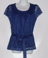 East 5th Ladies Short Sleeve Belted Lace Blouse Top Viking Blue Small (s)