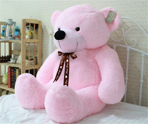 Neu-Riesen-Grossen-Rosa-Pluesch-Teddybaer-Riesige-Weiche-100-Baumwolle-Puppe