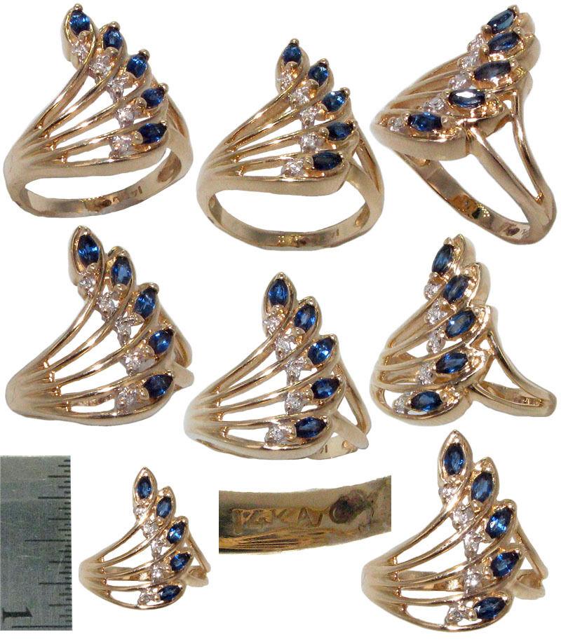 SAPPHIRE AND DIAMOND RING 14K Yellow gold