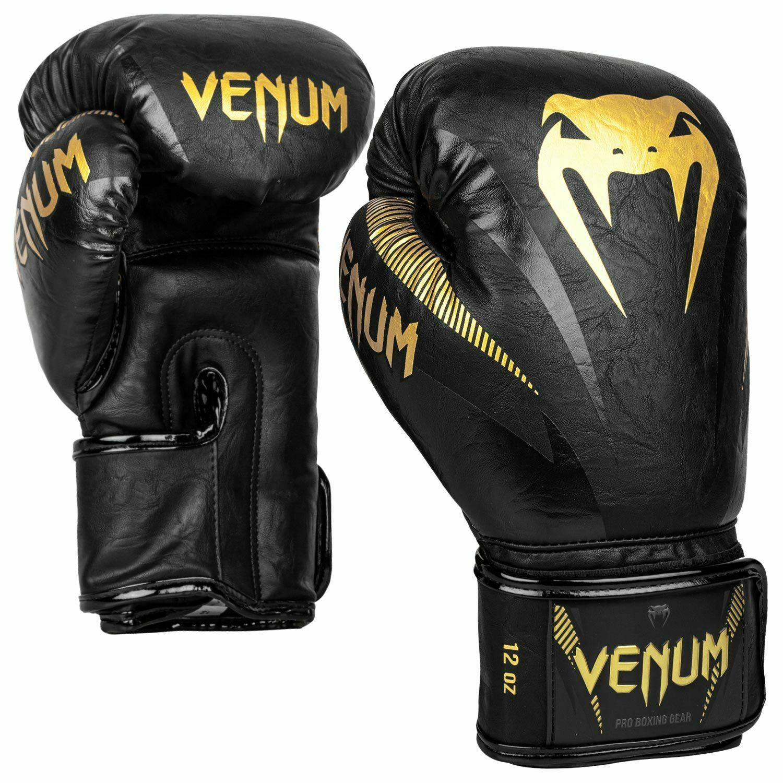 Venum Impact Boxhandschuhe Schwarz Gold Thai Boxen Kickboxen Training Sparring