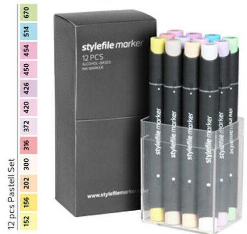 Stylefile Grafikmarker 12er Pastell Set box kit Marker Graffiti Alkoholmarker