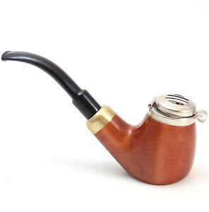 Tobacco Pipe w/ Wind Guard - No 21p Old Army - Pecan - Hand Made by Mr. Brog