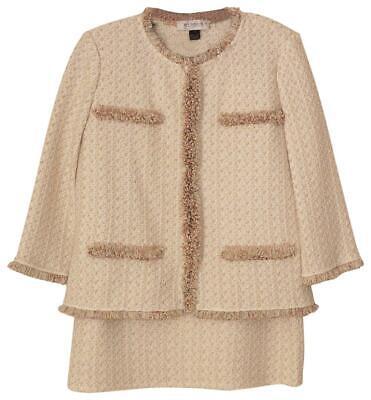 $2160 St.john Brillante Oro Bianco Tweed Maglia Frange Giacca Gonna Completo 6 Regalo Ideale Per Tutte Le Occasioni