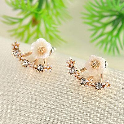 1Pair Elegant Crystal Rhinestone Ear Stud Flower Earrings Fashion Women Jewelry