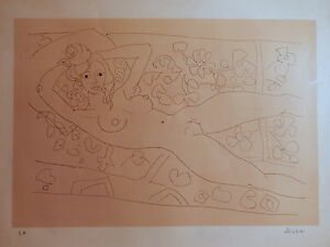 Lithograph nude feminin naked woman french painting school aizpiri basque