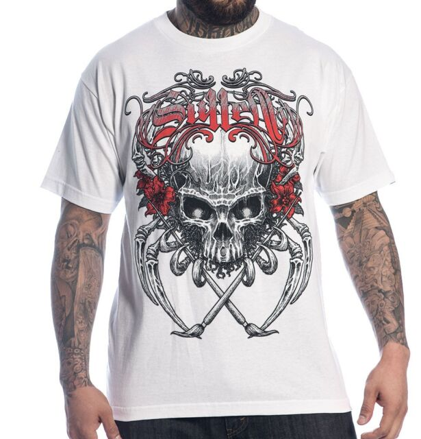 SPRING '14 SULLEN CLOTHING DEATH BADGE SKULL PAINT ART TATTOO WHT T SHIRT S-5XL