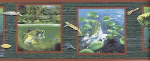 DEER TURKEY&- DUCK HUNTING BASS FISHING wallpaper border 10 1/4 ...