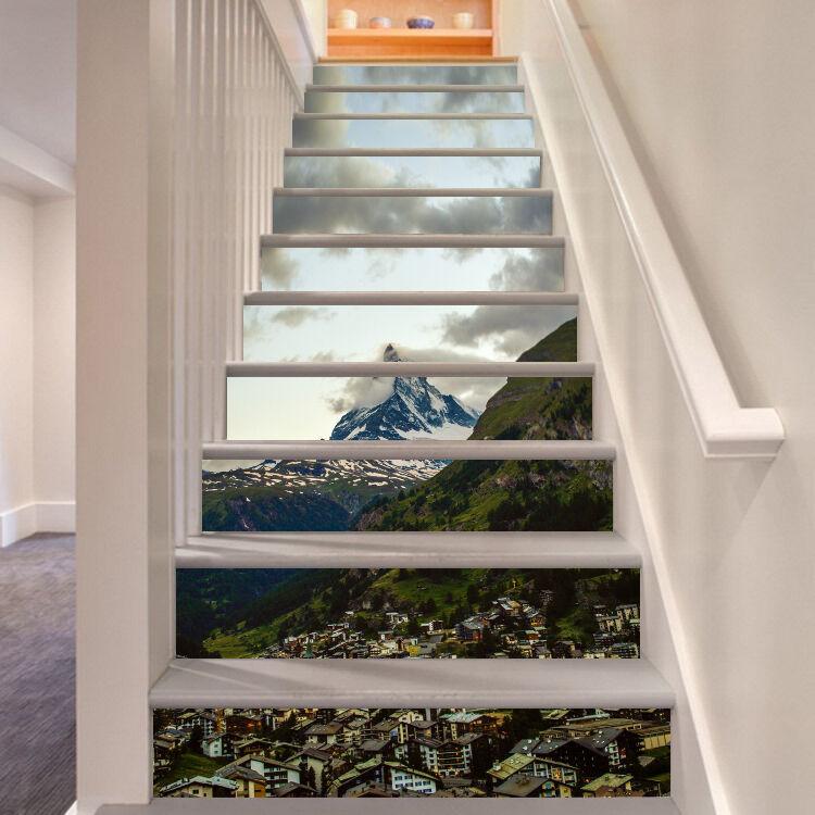 3D Berg Dorf 547 Stair Risers Dekoration Fototapete Vinyl Aufkleber Tapete DE