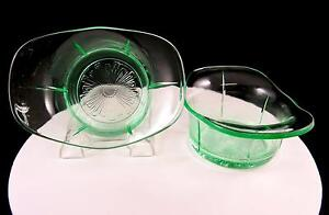 US-GLASS-DEPRESSION-ERA-2-PC-TENDRIL-VASELINE-GLASS-5-1-2-034-DESSERT-SAUCE-BOWLS