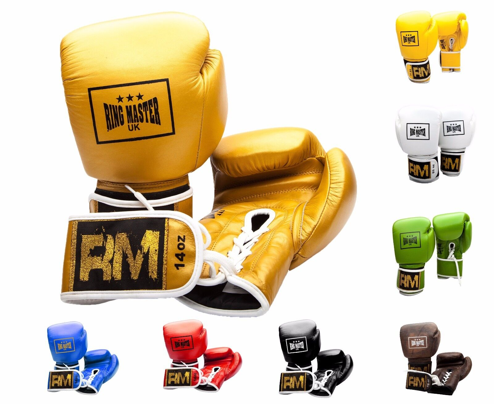 RingMaster UK Genuine Leder Leder Leder Boxing Gloves Lace up Sparring Punch Fight b6caa2