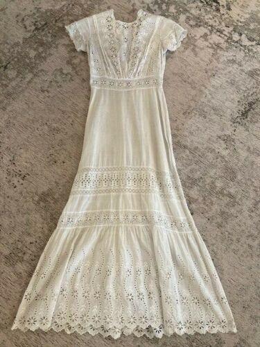 Antique Edwardian Dress Eyelet Cotton Summer Lawn