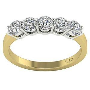 5-Stone-Engagement-Ring-SI1-G-1-25-Ct-Round-Diamond-14K-Two-Tone-Gold-Appraisal