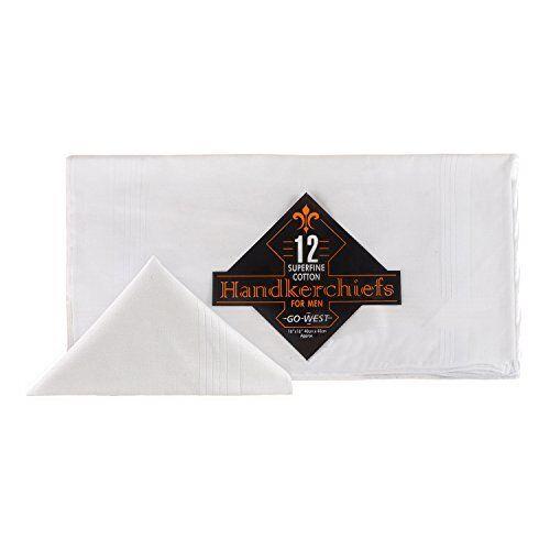 Pack of 12 Go West Cotton Mens Superfine Woven Handkerchiefs White