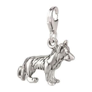 Details zu Charm Anhänger Hund Schäferhund 3 mit Karabinerverschluß 925 Sterling Silber