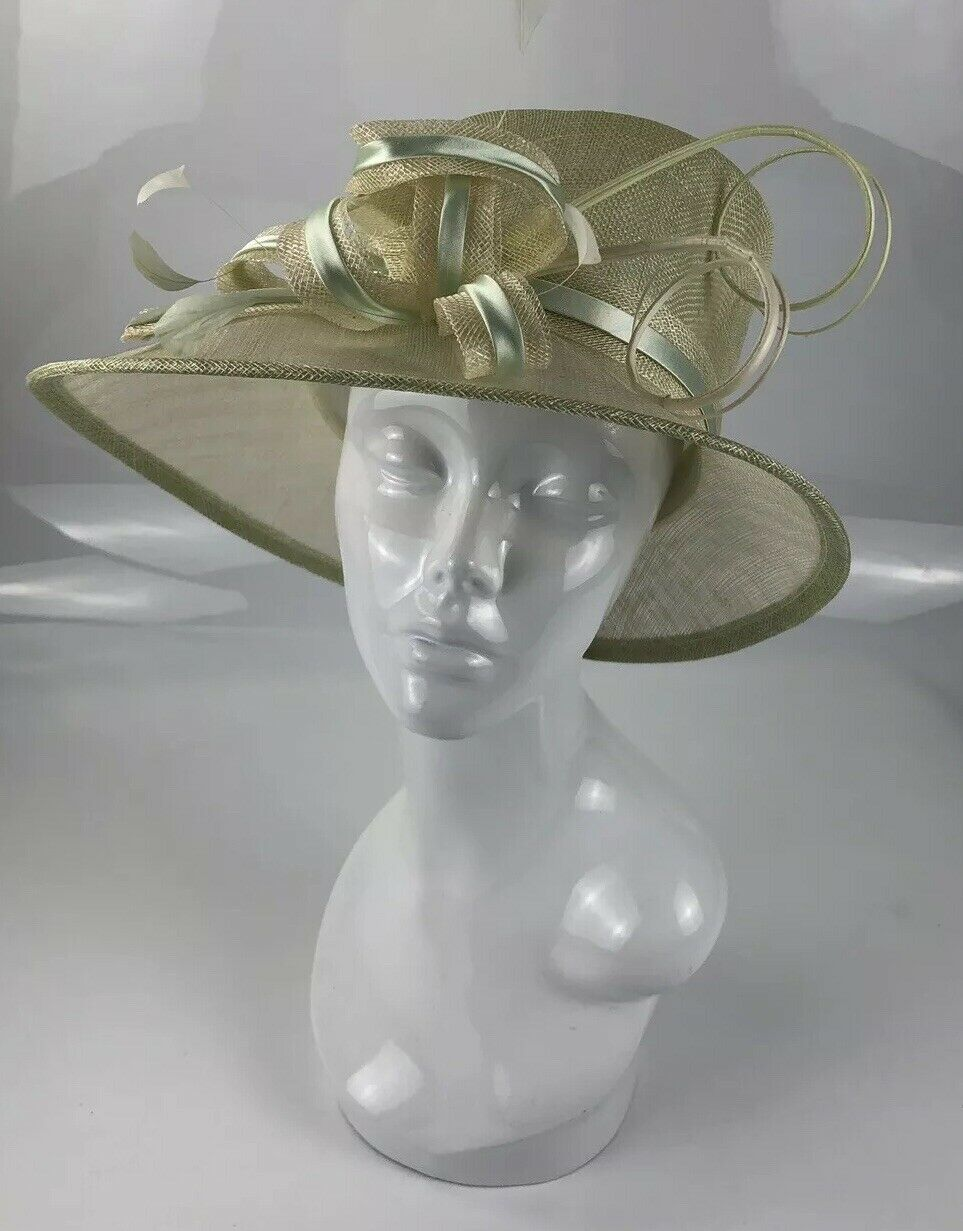 Marks and Spencer Gold Beige Duck Egg Blue Occasion Wedding Swirls Feather Hat