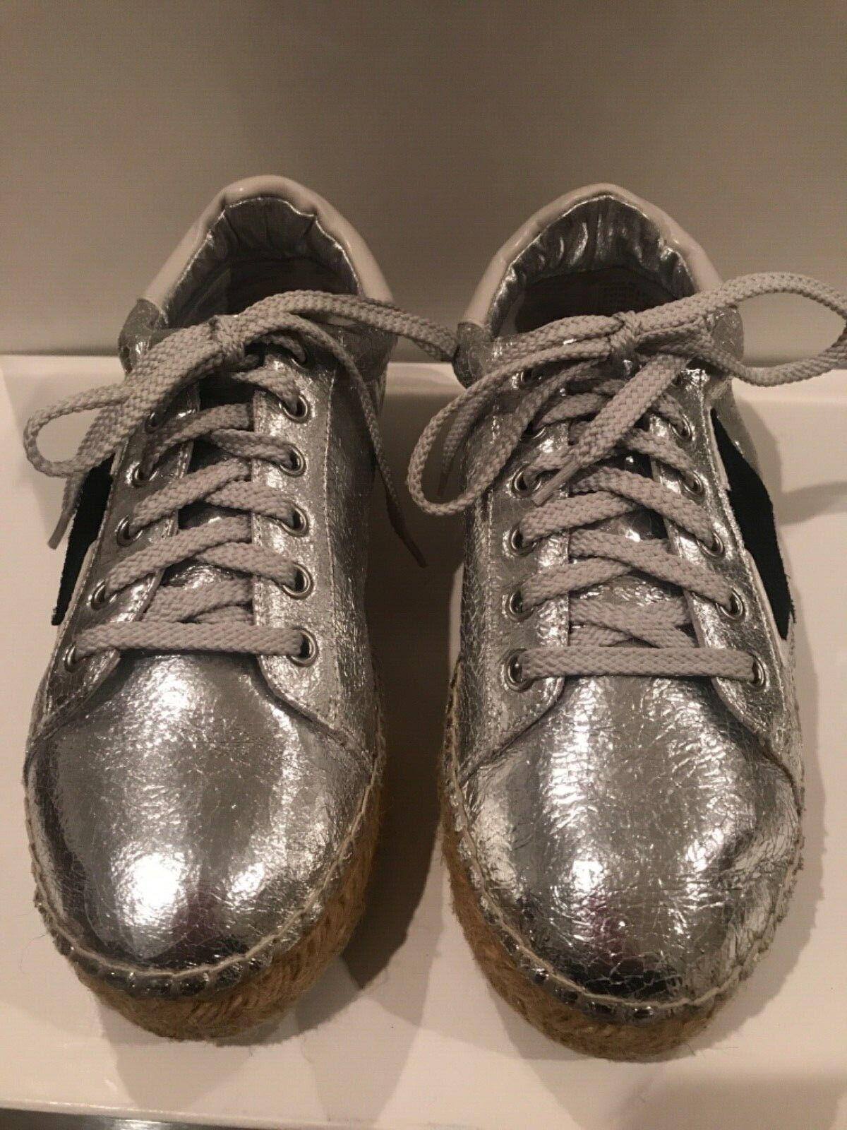 STEVEN by Steve Madden Phase Espadrille Sneaker SZ 8 Metallic Silver Black Stars
