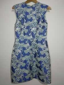 Oasis-Blue-Silver-Floral-Brocade-Dress-Size-UK-10-Sleeveless-Wedding-Races-Part